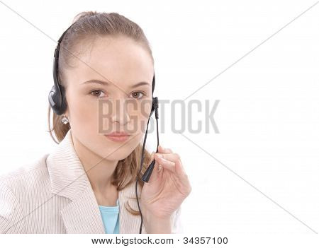 Closeup portrait of a happy female customer service representative