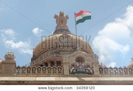 Indian National Flag In Tri Color (orange, White & Green) With Ashoka Chakra On Vidhana Soudha Legis