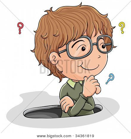 illustration of a young boy thinking on a white background
