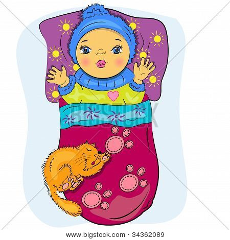 cartoon little baby in bed with pet
