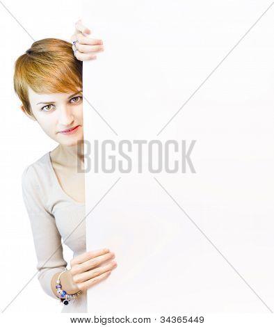 Beautiful Woman Holding Blank Copyspace Board