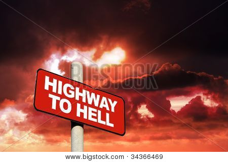 Highway To Hell Sign