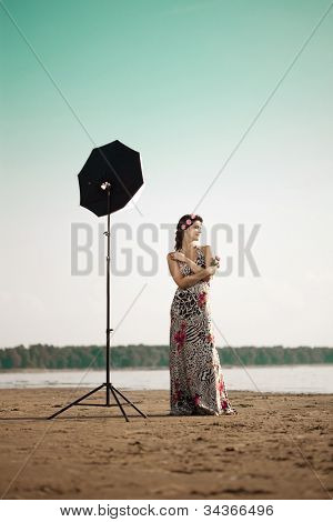 Photoshoot with luxury woman outdoors