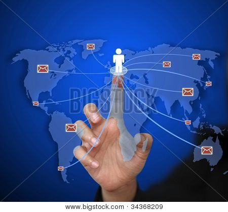 business woman send e-mail to the world for communication concept