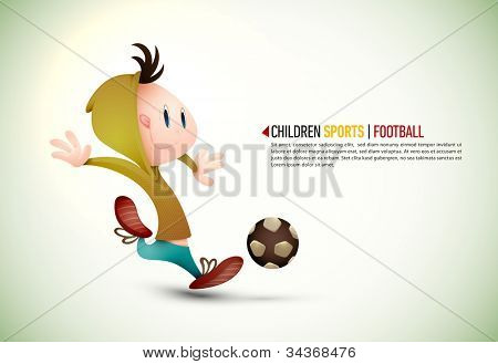 Child Soccer Player PLaying Football   EPS10 Vector Background   Layers Organized and Named Accordingly