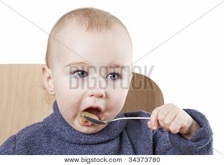 Baby Eating Applesauce