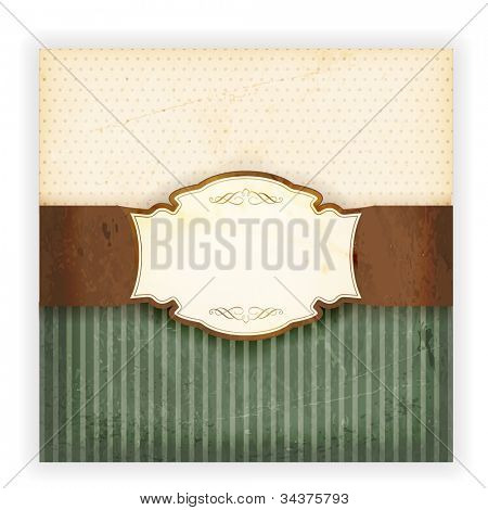 Invitation, anniversary card with label for your personalized text on beige and green background with polka dot and striped patterns and grunge elements for an aged retro feeling. EPS10