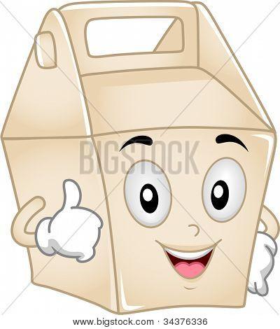 Ilustración de la mascota con una caja de comida para llevar