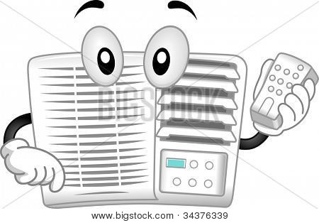 Mascot Illustration Featuring an Air-conditioner Holding a Remote Control