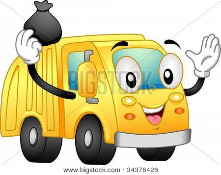 Mascot Illustration Featuring a Garbage Truck