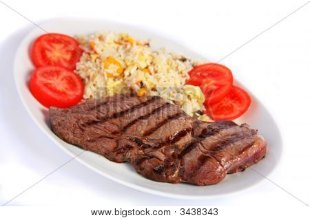 Steak And Fried Rice Horizontal