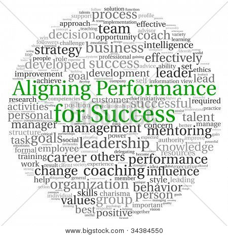 Aligning Performance for Success concept in word tag cloud on white background
