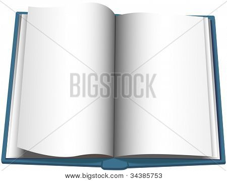 Page turning on a blank open book copyspace background