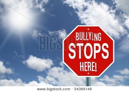 Red bullying stops here stop sign