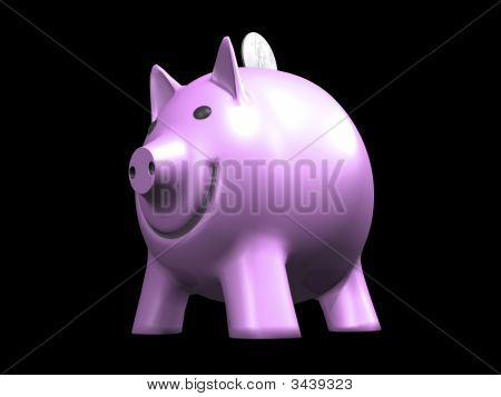 Pink Piggy Bank With Coin