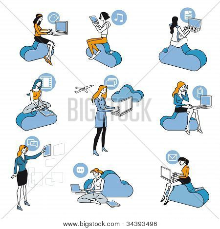 Cloud Computing Blue Girls Set
