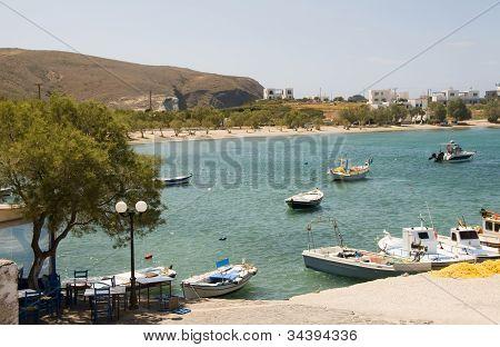 Harbor And Beach Pollonia Milos Cyclades Greek Island Greece