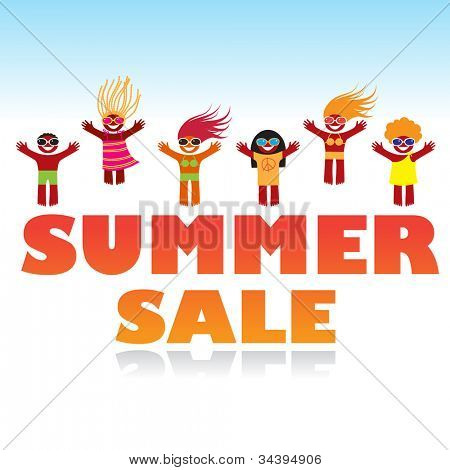 Vector summer sale poster design template.