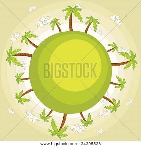 Earth with palm trees vector illustration