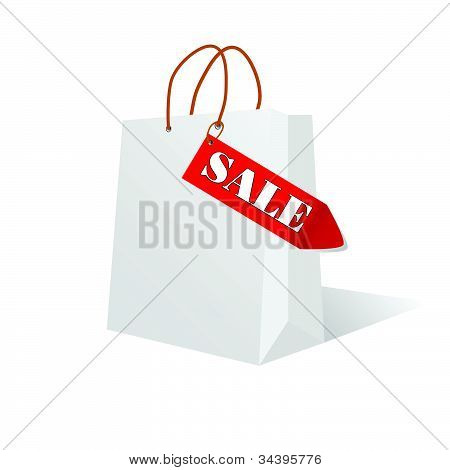 Paper Bag White Color With Sale Label Illustration