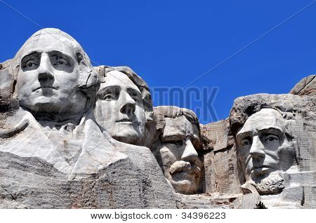 Mount Rushmore National Memorial in South Dakota features sculptures of former U.S. presidents George Washington, Thomas Jefferson, Theodore Roosevelt and Abraham Lincoln.