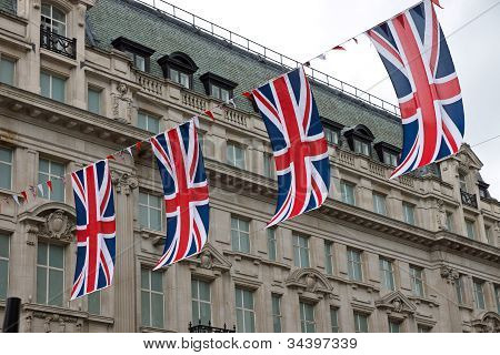 British flags in the street