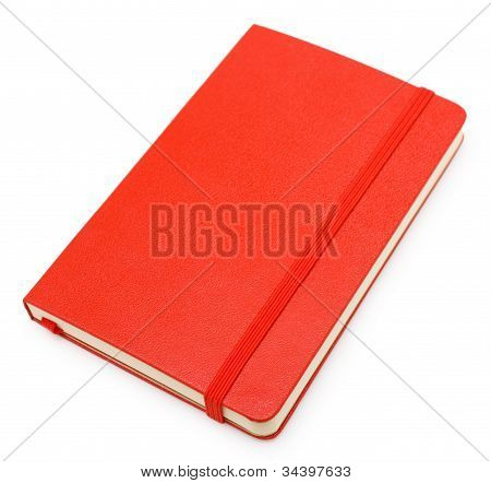 Red Closed Paper Notepad  Isolated On White