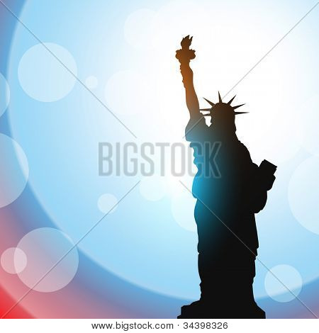 stature of liberty shillouette on vector background