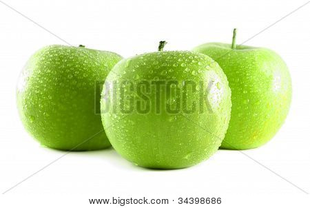 Green apple with water drops - vector illustration