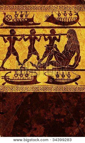 Antique wall engraving of greek mythology