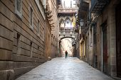 Tourist Sightseeing In Barcelona Barri Gothic Quarter And Bridge Of Sighs In Barcelona, Catalonia, S poster