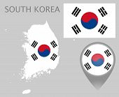Colorful Flag, Map Pointer And Map Of South Korea In The Colors Of The South Korean Flag. High Detai poster