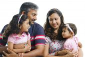 picture of pakistani  - Modern Indian family with two daughter having conversation on white background - JPG