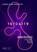 Techno Event. Futuristic Show Brochure Concept. Dynamic Gradient Shape And Line. Neon Techno Event F poster