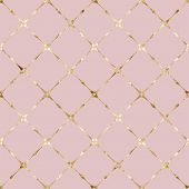 Stripe Grunge Plaid Pastel Pink Seamless Pattern With Gold Glitter Line Contour. Striped Background. poster