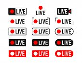 Set Of Live Streaming Icons. Broadcasting. Red Symbols And Buttons Of Live Stream, Online Stream. Ve poster