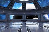Modern Futuristic Spaceship Interior Background. 3d Rendering poster