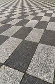 Details Of Black And White Bricks Checkered Ground Or Floor Mosaic As Background For Design,cobble G poster