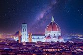 Cathedral Saint Mary Of The Flower At Night, Basilica Di Santa Maria Del Fiore In Tuscany Florence,  poster