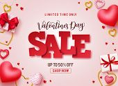 Valentines Day Sale Vector Promotional Banner. Sale Text With Hearts, Gifts And Jewelry Elements In  poster