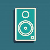 Green Stereo Speaker Icon Isolated On Blue Background. Sound System Speakers. Music Icon. Musical Co poster