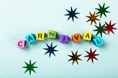 Festive Turquoise Background With Colorful Cubes With Text Carnival. Greeting Card Concept Voor Carn poster