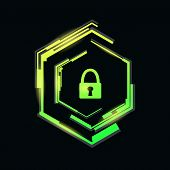Padlock In A Futuristic Frame.cybersecurity Concept.vector Illustration. poster