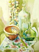 Handmade Watercolor Kitchen Still Life