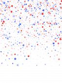 American Patriot Day Stars Background. Holiday Confetti In Us Flag Colors For Patriot Day.  Poster R poster