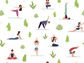 Yoga Seamless Pattern. People Demonstrating Various Yoga Positions Warming Up And Stretching Exercis poster