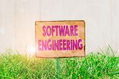 Handwriting Text Writing Software Engineering. Concept Meaning Apply Engineering To The Development  poster