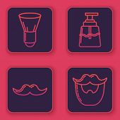 Set Line Shaving Brush, Mustache, Aftershave And Mustache And Beard. Blue Square Button. Vector poster