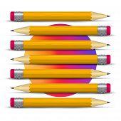 Realistic Pencil Set. Creation Metaphor. Gradient Circle. 3d Pencil Vector Illustration. Writing Ora poster