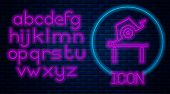 Glowing Neon Table Saw For Woodwork Icon Isolated On Brick Wall Background. Power Saw Bench. Neon Li poster